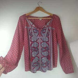 Lucky Brand peasant top, soft boho tunic style